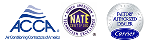 National Refrigeration ACAA accredited, NATE (North American Technician Excellence) certified, a Carrier Factory Authorized dealer, and a member of The Indoor Environment and Energy Efficiency Assocation.